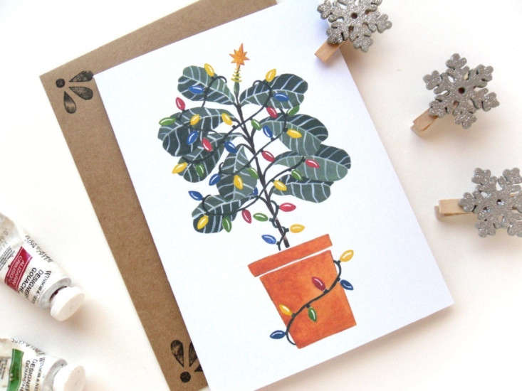 Etsy seller Sketchy Notions designs one-of-a-kind cards, postcards, and art prints. A 5.5-inch-tallFiddle Leaf Fig Charlie Brown Christmas Tree holiday card comes with one hand-stamped Kraft envelope, wrapped in a cellophane sleeve and is \$4.50.