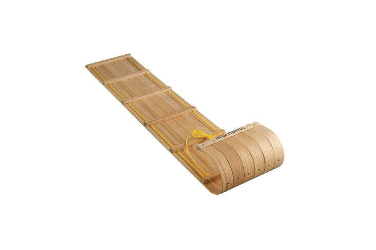 The Flexible Flyer Canadian Toboggan is 6 feet long and made of Northern Hardrock Maple; $5 at Target.