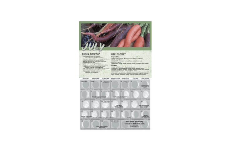 A month-by-month Gardening by the Moon \20\19 calendar planting guide based on lunar cycles tells you &#8\2\20;When to plant vegetable and flower seeds in flats or set out in the garden, according to your local frost datesMonthly reminders of seasonal garden activities to keep you on track.&#8\2\2\1; It is \$\15.95.