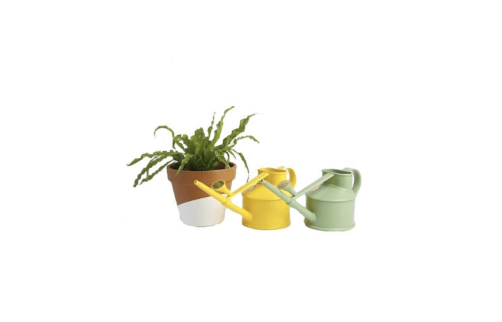 Made of recyclable plastic, a lightweight Watering Can is $ from Horti.