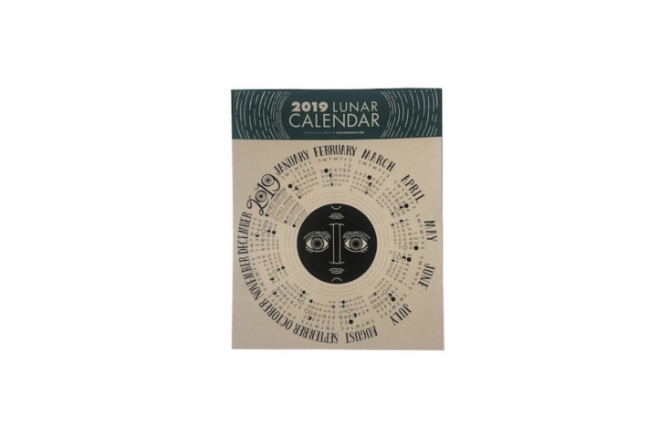 A circular \1\2-by-\1\2-inch \20\19 Lunar Calendar &#8\2\20;includes a description for each phase of the moon (for example, New Moon: A time to start new projects and put new ideas into motion.)&#8\2\2\1; Also shown in the top photo of the post, it is \$\15 from Caitinkeegan via Etsy.