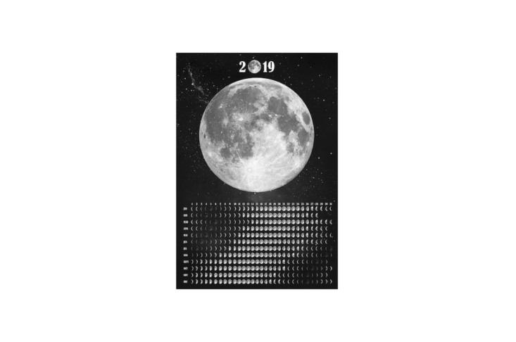 A poster-style Moon Calendar \20\19 is available in four sizes at prices from \$\1\1.83 to \$\23.66 depending on the dimensions from Demeraki via Etsy.