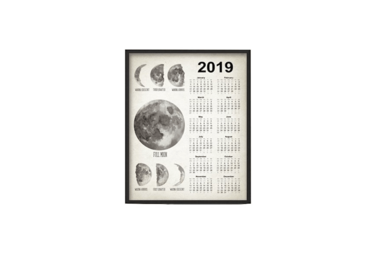 A watercolor painting, aMoon Phases Calendar \20\19 is available in four sizes from \$\10.48 to \$30.\13 depending size at Quantum Prints via Etsy.