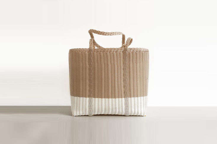 Woven by artisans in Guatamala, the Palorosa Tote is made of recycled plastic and can be used to hold garden tools or to transportcut flowers, herbs, and vegetables from the garden to the kitchen; $95 at Meus.