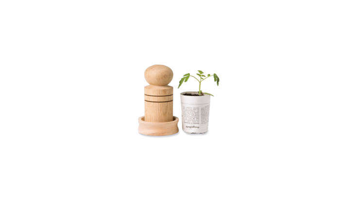 For the crafty (and eco-minded) gardener: a Paper Pot Makertransforms newsprint into little pots for seedlings. (Plus, the paper pots are biodegradable, so they can be planted directly in the ground when the time comes.) The wooden tool is \$\19.95 from Gardeners.com.