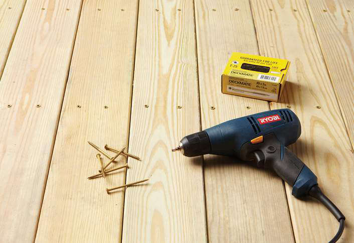 An 8-foot length of Prime Ground Contact Pressure-Treated Lumber (