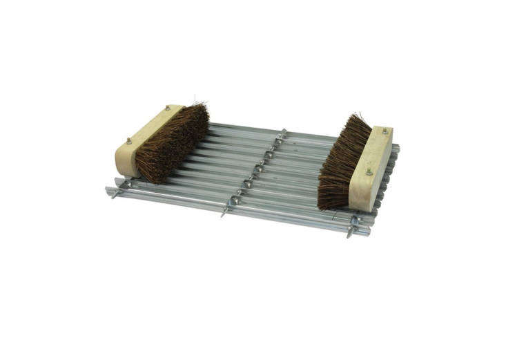The Galvanized Boot Scraper Mat comes with two bristles for removing dirt from the sides of shoes; £.70 at Sibbons.