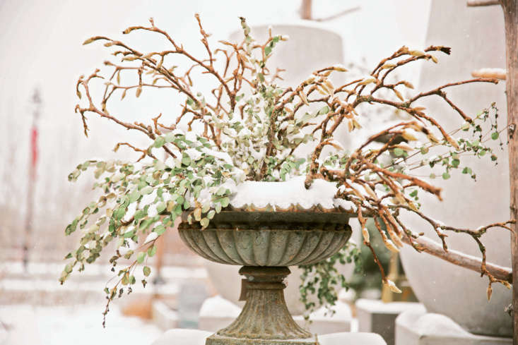 &#8\2\20;Arrange branches with striking silhouettes in anticipation of snowfall; once coated in snow, this urn of knotty magnolia twigs serves as an outdoor art piece,&#8\2\2\1; notes Terrain.