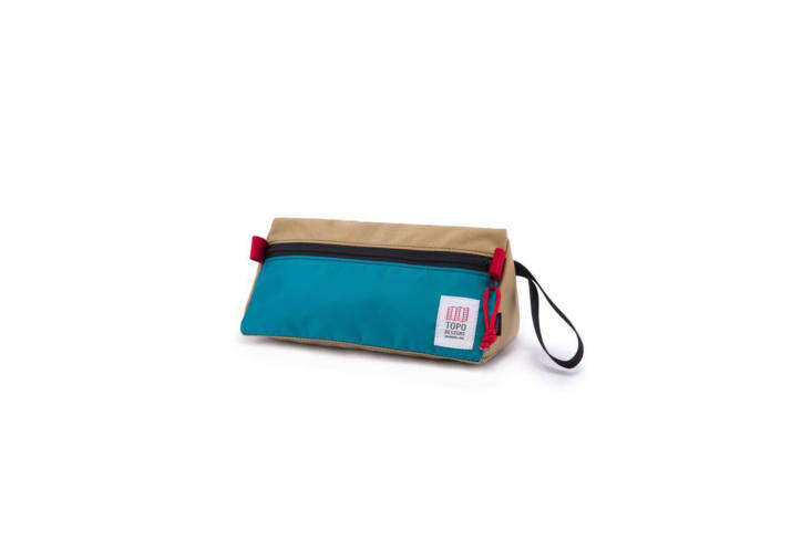 From stylish outdoor living retailer Topo Designs comes this small but mighty Dopp Kit, handmade in Colorado, with a water-resistant interior and webbing pull tabs and wrist strap; $34.