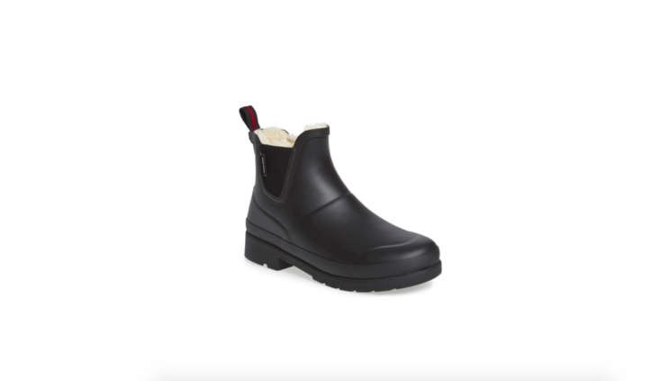 Tretorn&#8\2\17;s Chelsea Rain Boot has faux-fur lining and a \1-inch heel; \$99.95 at Nordstrom.