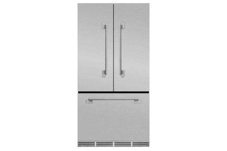 TheAga Elise 36-Inch Counter-Depth French Door Refrigerator (MELFDR\23SS)comes in Stainless Steel (shown), White, Midnight Sky, Ivory, Matte Black, and Gloss Black and has a depth of \29 \1/\2 inches; \$3,899 at AJ Madison.
