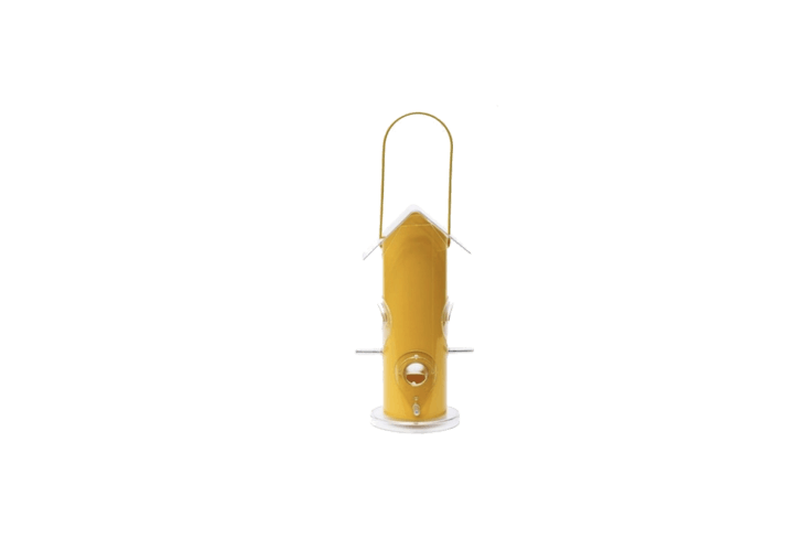 A 9.75-inch-tall Yellow Metal Tube Bird Feeder has removable parts for easy cleaning and is \$9.87 from Hardware World.