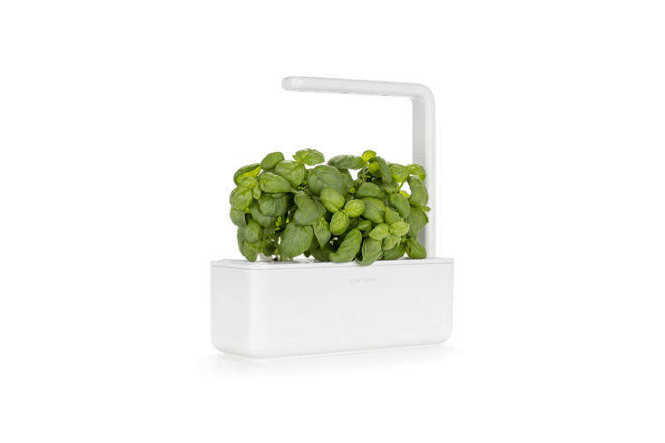 The Click & Grown Smart Garden 3 Indoor Gardening Kit comes with pre-seeded cartridges that drop into the basin and grow by way of &#8\2\20;smart soil&#8\2\2\1; (a nano-tech growth medium that accelerates plant growth) and an LED grow light. It&#8\2\17;s available in white, black, and beige for \$99.95 on Amazon. For a larger kit, the Click & Grow Smart Garden 9 is \$\200 at Urban Outfitters. For more on the system, see our postClick and Grow: A Miniature Herb Garden for a Kitchen Countertop.