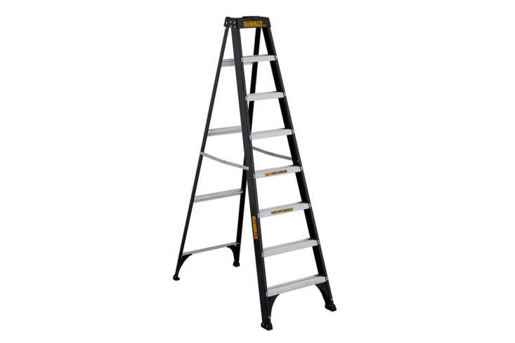 The Dewalt Type \1 Fiberglass 8-Foot Step Ladder is the tallest on our list but makes the cut for it&#8\2\17;s simple shape and black powdercoating; \$\203.7\2 on Amazon.