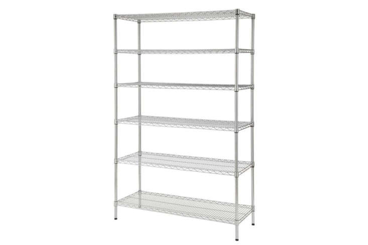 The HDX Decorative Chrome Wire Heavy Duty Shelving Unit measures 48 inches wide and 7
