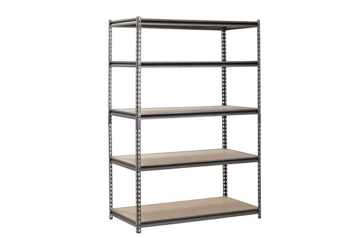 For a classic, albeit basic design, the Heavy Duty Garage Steel Storage Shelving Unit has five adjustable shelves made of particleboard. It measures 48 inches wide and 7