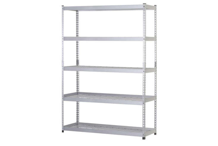 The Husky Commercial Shelving Unit is a more heavy-duty stainless steel shelf system measuring 48 inches wide and 78 inches high; $9 at The Home Depot.