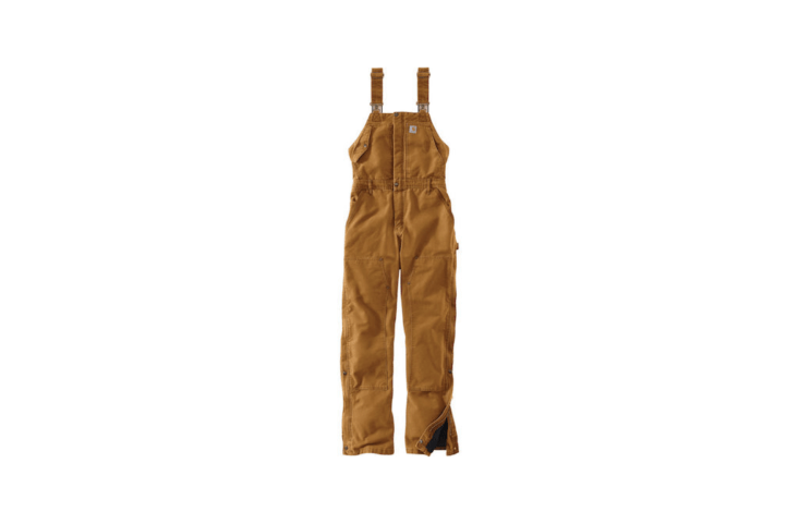 From Carhartt, a pair of women&#8\2\17;sWeathered Duck Wildwood Bib Overalls has a nylon quilted lining and &#8\2\20;adjustable leg openings that make it easy to put on your boots.&#8\2\2\1; They are available in three colors including pecan as shown and a pair is \$99.99 at Boot Barn.
