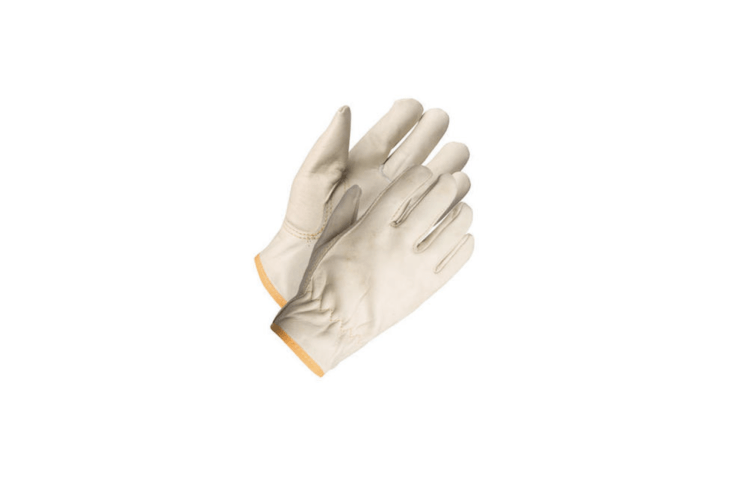 A pair of Grain Leather Gloves in women&#8\2\17;s sizes is made of grain cowhide leather; \$6.99 at Menards.