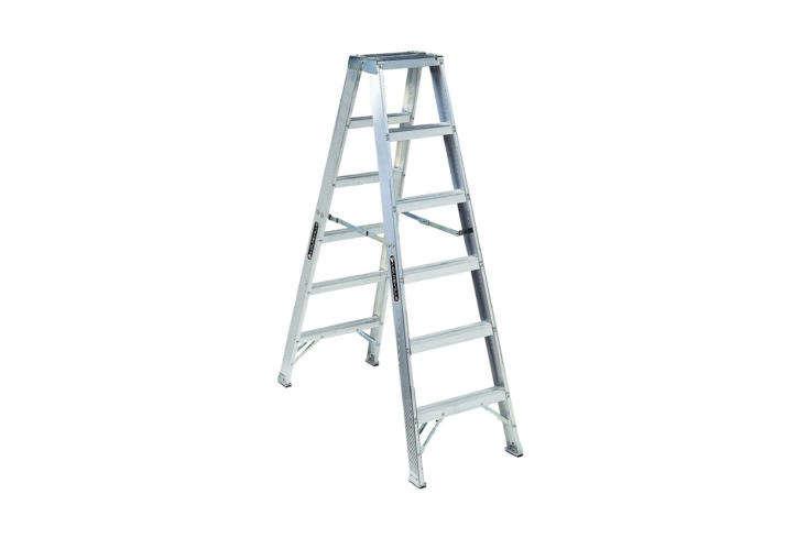 The Louisville (AM\1006) Aluminum 6-Foot Step Ladder is \$\2\14.36 on Amazon.