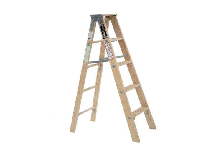 For a classic no-fuss wood ladder, the Michigan 5-Foot Wood Step Ladder is \$\1\24.99 at Wayfair.