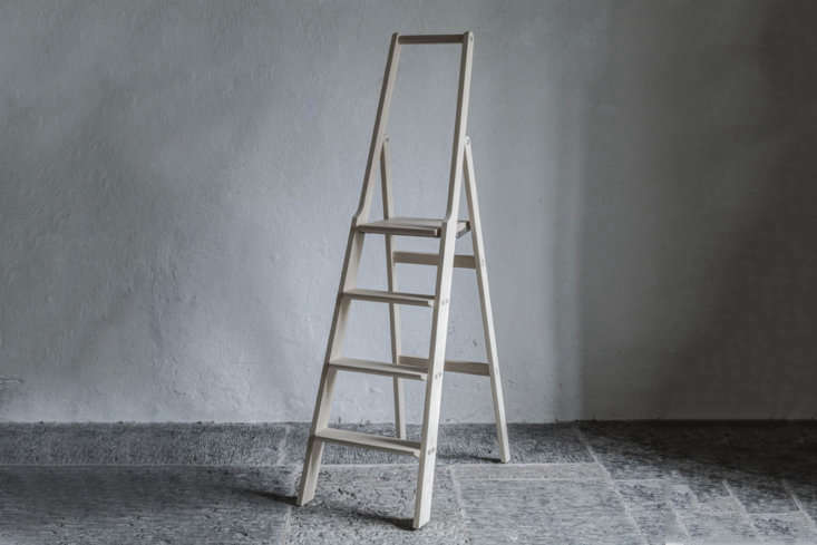 For the true aesthete, the Step Up Ladderfrom Olby Design in Sweden is really designed for indoor use alone and is made to be hung on the wall when not in use. Contact Olby Design for price and ordering information. For similar, albeit smaller, wood step ladders see our post\10 Easy Pieces: Step Stools and Ladders.