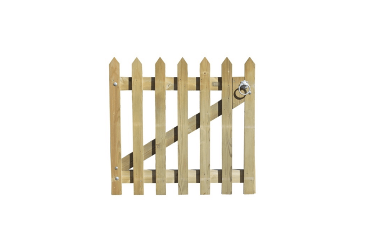A Palisade Gate With Pointed Pales has a planed finish and comes with hardware (eithergalvanized or stainless steel) for installation; prices range from£79.60 to£83.90 depending on size at Jacksons Fencing.