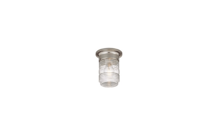 A clear ribbed glass jelly jar Outdoor Ceiling Light Fixture takes one 60-watt bulb (not included). It is \$5.79 from Hardware World.