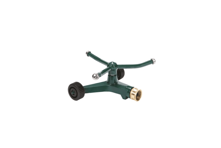 A three-arm revolving Metal Sled Base Rotor Sprinkler has a range of 45 feet in diameter. A house brand, it&#8\2\17;s \$\15.99 at Ace Hardware.