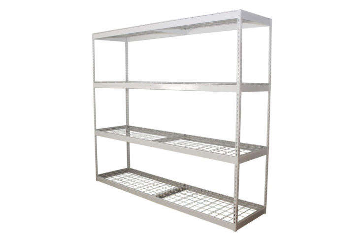 The SafeRacks Industrial-Grade Garage Shelving in white measures 8 feet wide and 7 feet tall for $309.98 on Amazon. It&#8