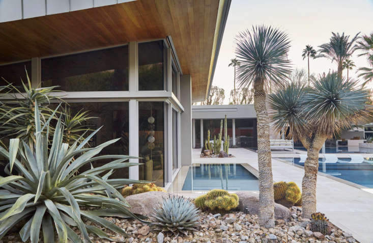Surrounding a swimming pool in Palm Springs, California, a garden looks like an art gallery full of sculpture. &#8