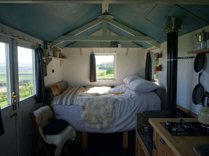"""The Interior of The Kailyard Guest Cottage at Guardswell Farm in Scotland is &#8\2\20;one of the more rustic lodging options,&#8\2\2\1; writes Annie, with an """"immersive 'shepherds experience' with your own Hebridean flock surrounding the hut, plus two donkeys"""" (andno electricity)."""