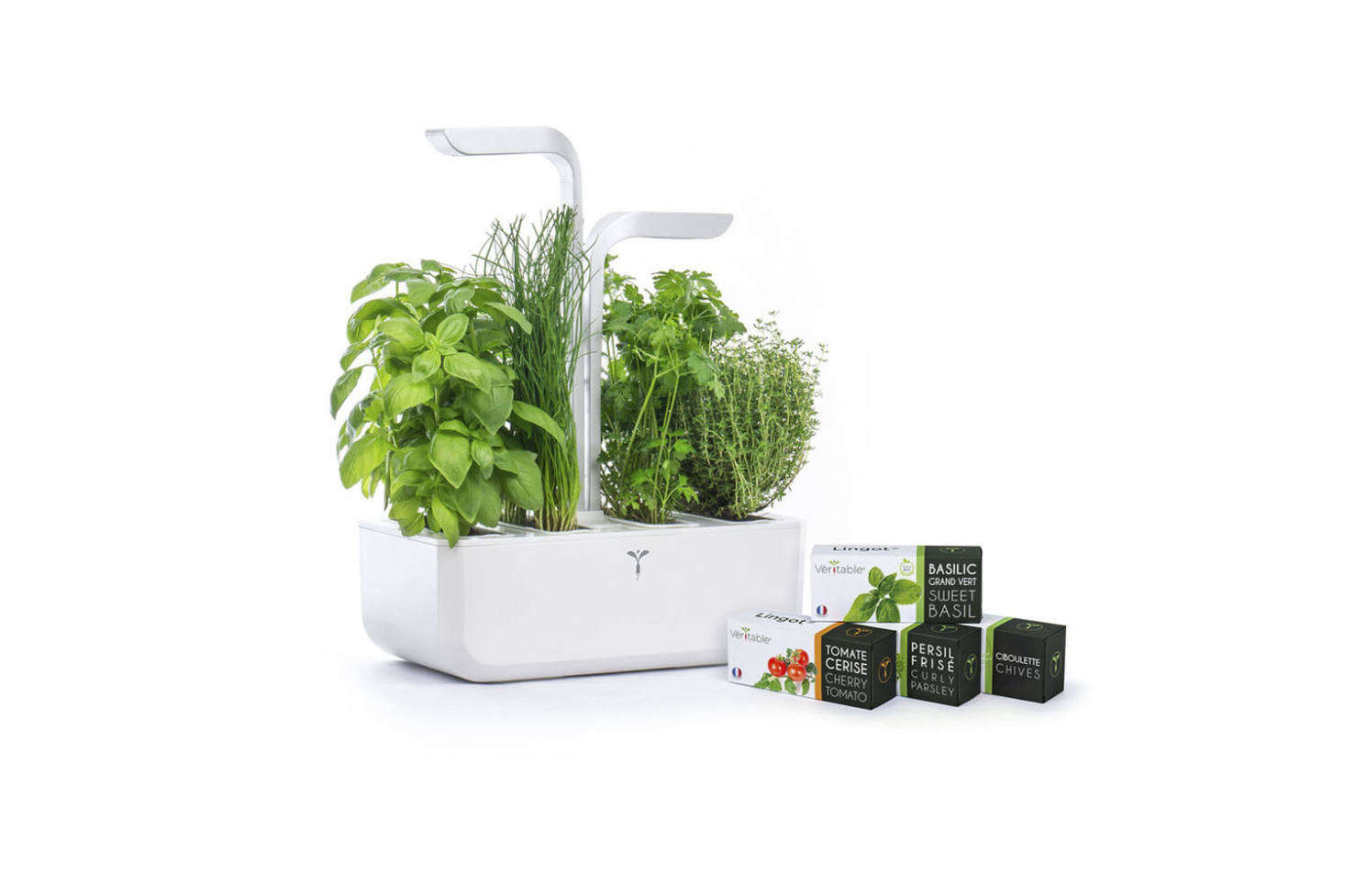 TheClassic Veritable Gardenis powered by an LED light and self-irrigates for up to three weeks. The kit comes with seeds to grow chives, cherry tomatoes, curly parsley, and basil; $0 through Goop. For more like this, see our post Easy Pieces: High Tech Herb Growing Kits.
