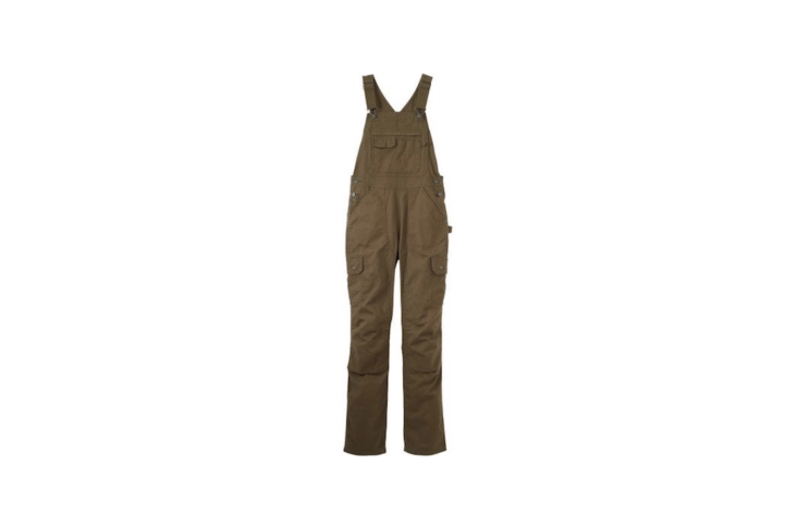 A pair of olive green Women&#8\2\17;s Fire Hose DuluthFlex Bib Overalls have an adjustable fit &#8\2\20;with double waist buttons—perfect for layering in all kinds of weather,&#8\2\2\1; \1\2 pockets, and a &#8\2\20;fabric treatment that repels stains and water.&#8\2\2\1; A pair is on sale for \$89.99 marked down from \$99.50 from Duluth Trading.