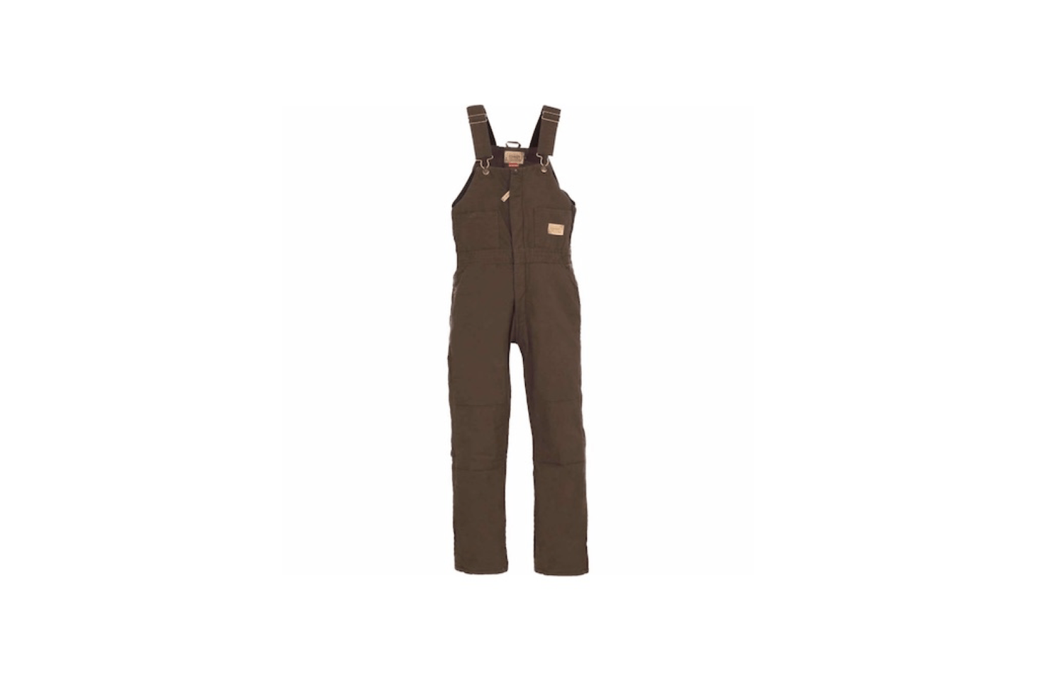 Available in dark brown, a pair of C. E. Schmidt Sanded/Washed Duck Quilt-Lined Insulated Bib Overalls has storm flaps over leg zippers to block wind and cold and waterproof reinforced knees; $5