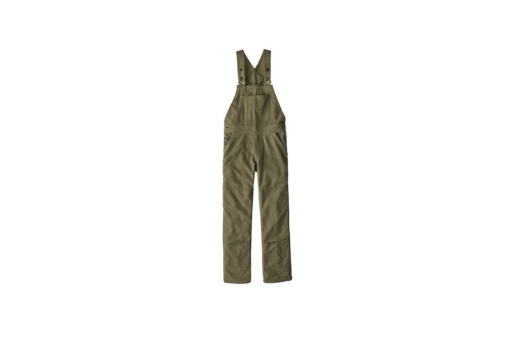 A pair of Patagonia Women&#8\2\17;s All Seasons Hemp Canvas Bib Overalls with double-fabric knees for durability is available in Fatigue Green as shown or Rattan is \$99.