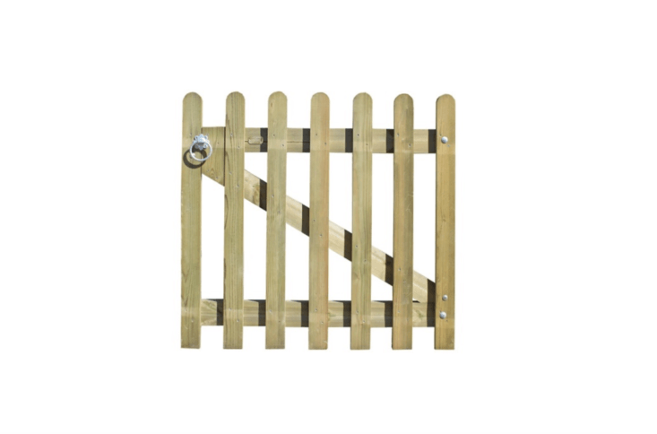 A Palisade Gate With Rounded Pales (a style also shown in the featured photo above) comes with galvanized iron hinges, a ring latch and fixings and is available in three heights (0.95 meters, \1.\15 meters, and \1.75 meters). Its is one meter (about 39.3 inches) and is from£79.60 to£98.45 depending on size at Jacksons Fencing.