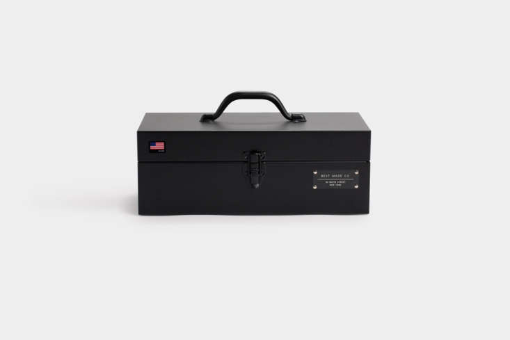 The Best Made Co.  Inch Toolbox, available in matte black (shown) and red for $88.