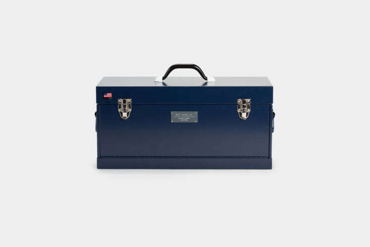 The Best Made Co. Front Loading Toolbox in red, matte black, or navy (shown) is a larger version of the \15-inch Best Made toolbox featured above. This one is \$\148 at Best Made Co.