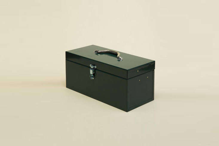 The Cantilever Tool Box is made in Southern California from high quality (\20 and \2\2 gauge) steel and has a long piano style hinge; \$75 for the small size (shown) and \$77 for the large at The Good Liver in Los Angeles.