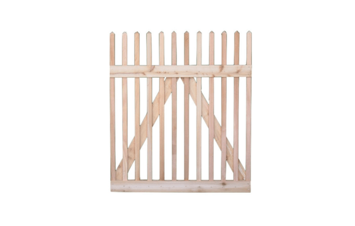 A Classic Victorian Wood Picket Gate is available in heights from 3 to 8 feet and in custom widths. For more information and pricing, see Eastern Wood Fence.