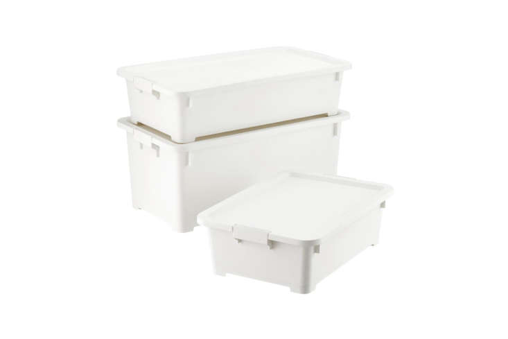 The Container Store makes the simple White Rolling Plastic Storage Totes; \$\24.99 to \$39.99 at Container Store.