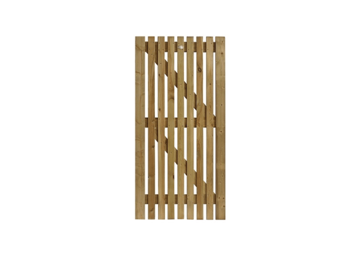 A Flat Picket Gate has a kiln-dried frame with tenon and mortise joints and made of pressure-treated timber. It is available in several sizes at prices starting at £35 from Pennine.