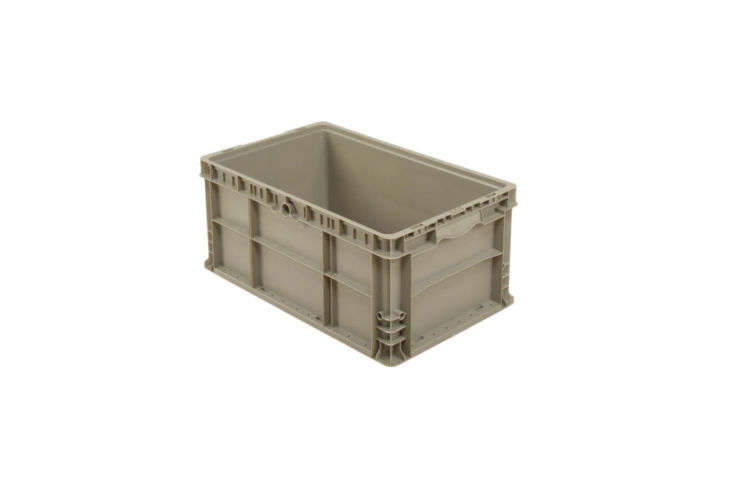 The industrial Straight Wall Stackable Container in gray is \$\17 atGlobal Industrial.