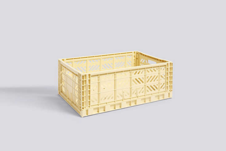 The new HAY Colour Crates, shown here in Large Light Yellow, start at \$5.75 for the small size at Finnish Design Shop. The crates are also available in other colored plastics.