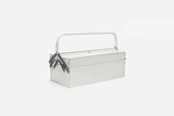 The House Doctor Toolbox in White is made entirely of white powder coated steel; \$58.05 at Goodhood in London. It&#8\2\17;s also available in a muted Army Green for the same price at Goodhood.