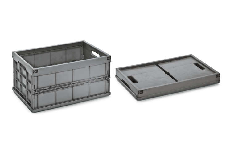 The Fold-Up Box in Recycled Plastic from Walther Faltsysteme in dark gray is €36 at Manufactum. Also at Manufactum is the Folding Box Made of Recycled Plastic with a different style of lid; €49.