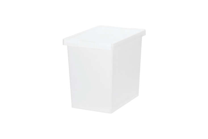 Muji&#8\2\17;s Small PP Carry Box Deep with Lock is small but stackable; \$\15 each at Muji.