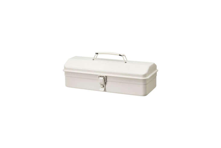 The compact (but good-looking) Muji Steel Tool Box measuring about \15 by 7 by 5 inches and is made in Japan; \$30 at Muji.