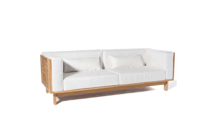 A Skanor 3-Seater Sofa by Scandinavian designer Skargaarden &#8\2\20;has been designed with a relatively tall back rest to maximize comfort. The cushions are filled with foam encased in polyester and covered with outdoor Sunbrella fabric&#8\2\2\1; It measures 9\1 inches wide and \29 inches high; \$7,\200 at Curran Home.